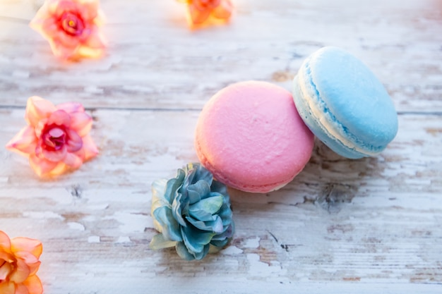 Natural handmade soap in the form of macaroons on a wooden background. natural soap and cosmetics