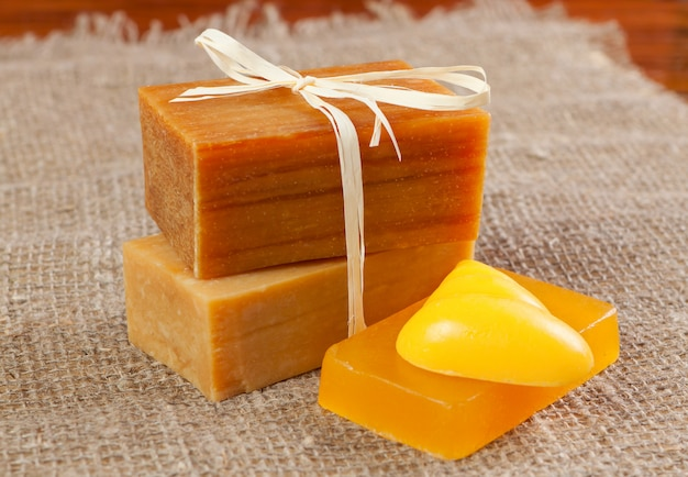 Natural handmade soap, tied with twine