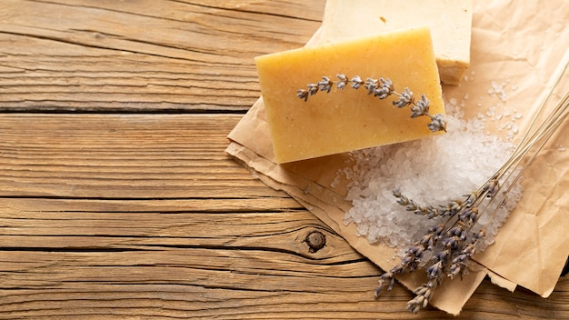 Natural handmade soap with salt and lavender copy space