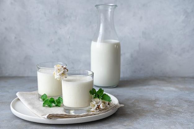 Натуральный, полезный молочный напиток-йогурт, кефир, ласси, в двух стаканах на серой стене с зеленью и цветами. домашние, полезные напитки.