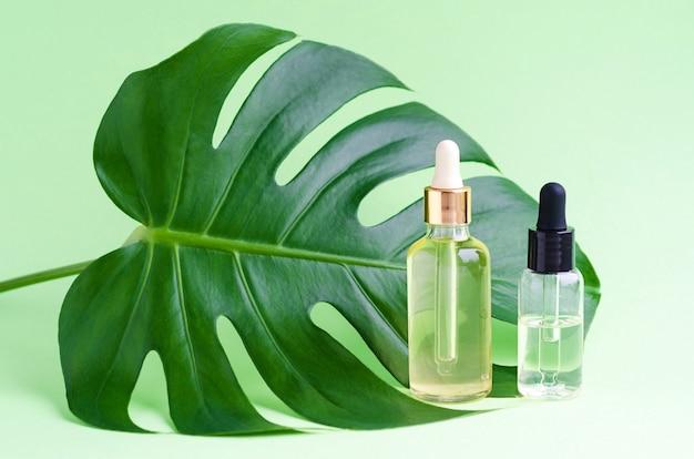 Натуральный косметический продукт на травах для ухода за кожей. сыворотка и масло в стеклянных флаконах с листом монстеры