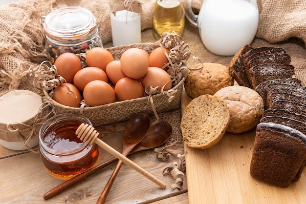 Natural honey together with homemade cakes and various dairy products.