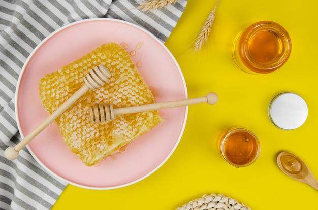 Natural honeycomb in flat lay