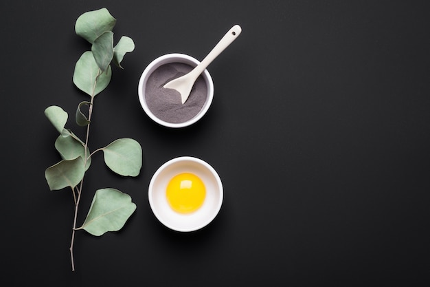 Natural ingredients clay, yolk and eucalyptus for homemade beauty cosmetic products. diy cosmetics and spa concept.