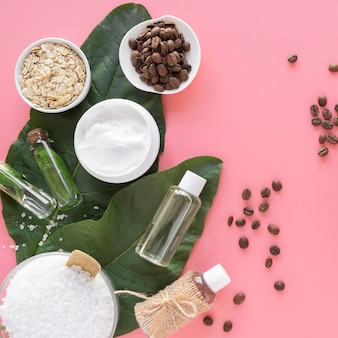 Natural ingredients for cosmetics on desk