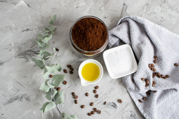 Natural ingredients for homemade body coffee sugar salt scrub oil beauty spa concept body care