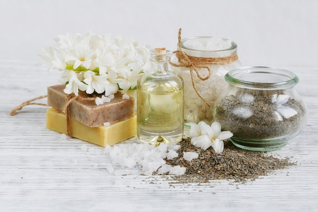 Natural ingredients for homemade facial and body mask or scrub