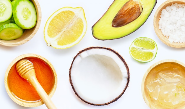 Natural ingredients for homemade skin care.