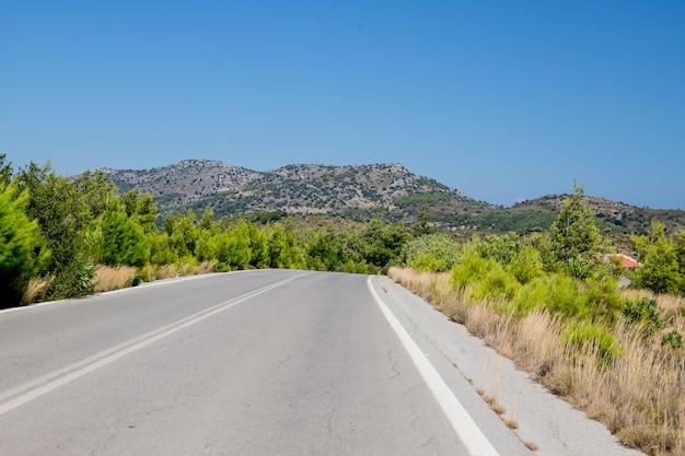 Natural landscape.empty mountain asphalt road in corfu island