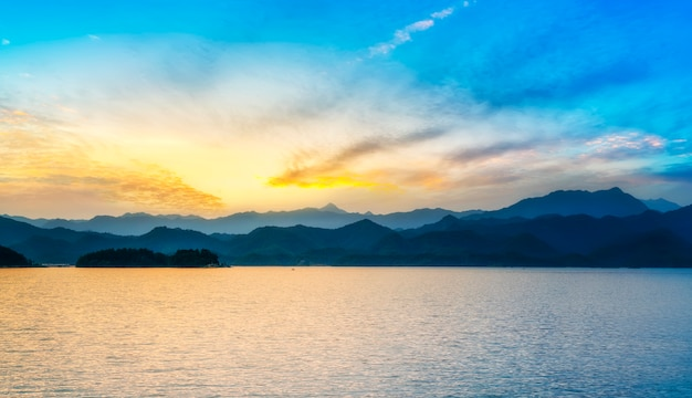 Natural landscape and lake scenery of qiandao lake in hangzhou
