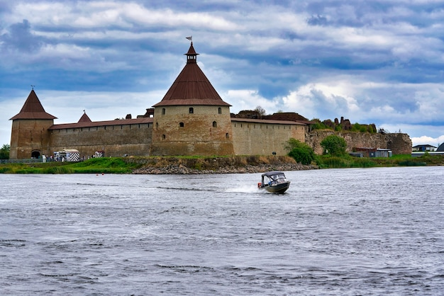 Natural landscape with a view of the old fortress by the lake