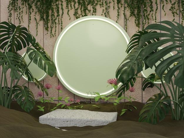 自然の葉製品の表彰台またはステージ
