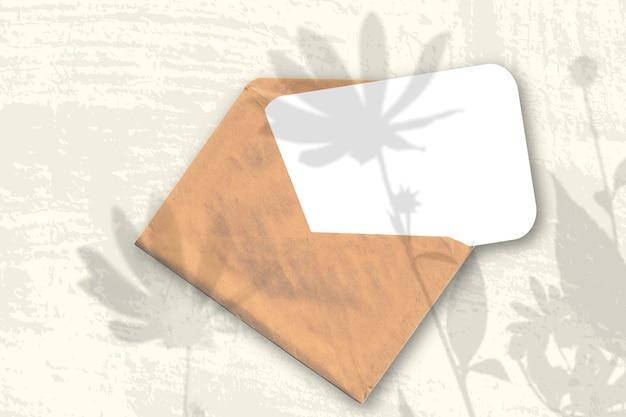 自然光が織り目加工の白い紙のシートで封筒にエルサレムアーティチョークの花から影を落とします