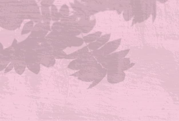 Естественный свет отбрасывает тени от ветки рябины на розовую стену.