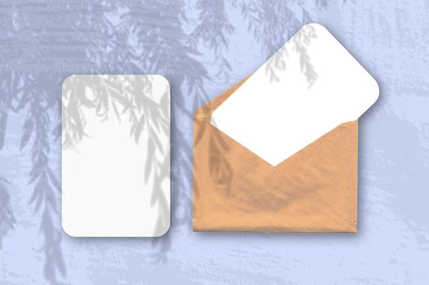 自然光が2枚の織り目加工の白い紙で封筒に柳の枝から影を落とします