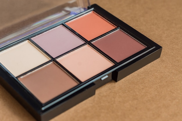 Natural look, brown tone eye shadows make up palette in black case