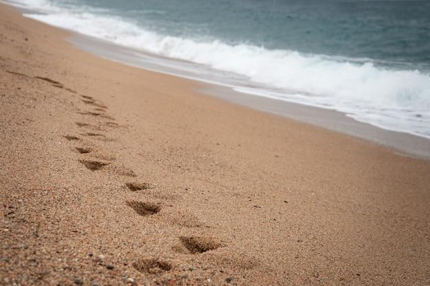 自然の海洋景観。海の波が砂の足跡を洗う