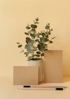 Natural material stationery arrangement