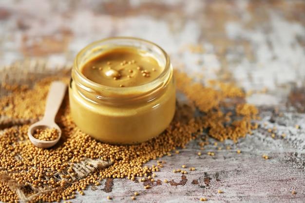 Natural mustard in a jar. macro.