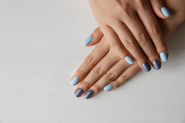 Natural nails with beautiful manicure