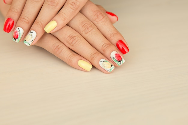 Natural nails with colorful summer manicure