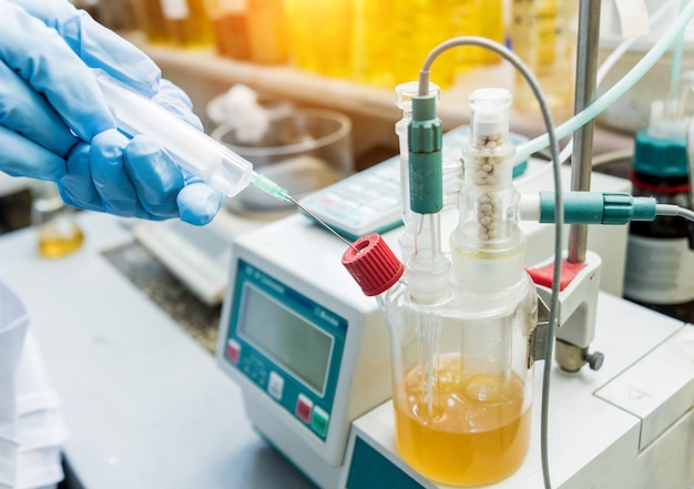 Natural oil quality control. in the industrial laboratory.