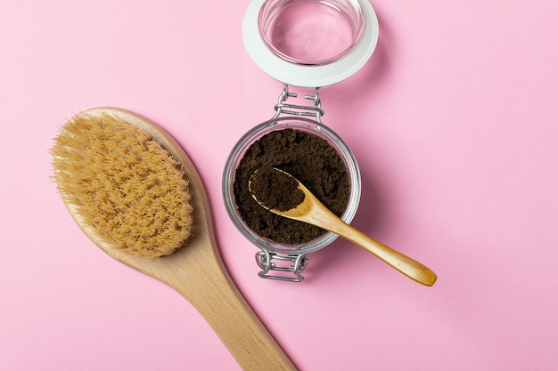 Natural organic anticellulite coffee scrub, wooden massage brush