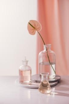 천연 유기 식물학 및 과학 유리 제품, 대체 약초, 프리미엄 사진