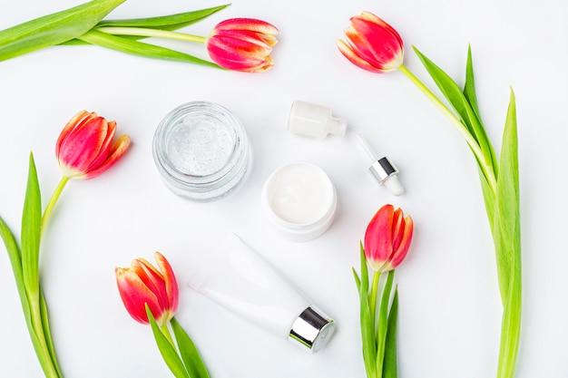 천연 유기농 수제 화장품 개념. 피부 관리, 치료 및 미용 제품