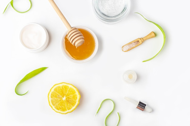 Natural organic ingredients to make home skin care. cleansing and nourishing cosmetics