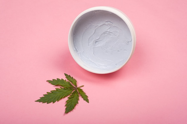 Natural organic marijuana cosmetics. beauty and skin care concept using the medical properties of cannabis