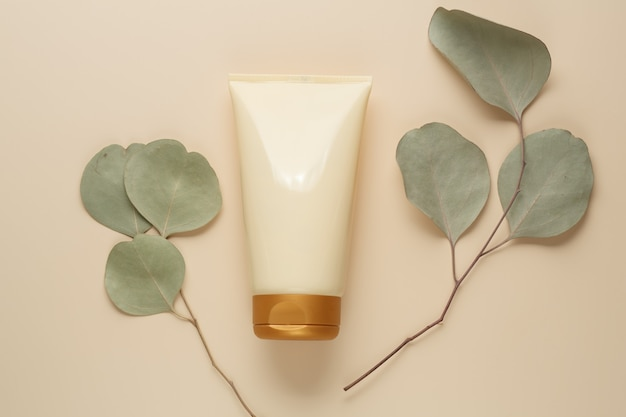 Natural organic spa beauty product on beige background. flat lay, top view. body and skin care concept. stock photography