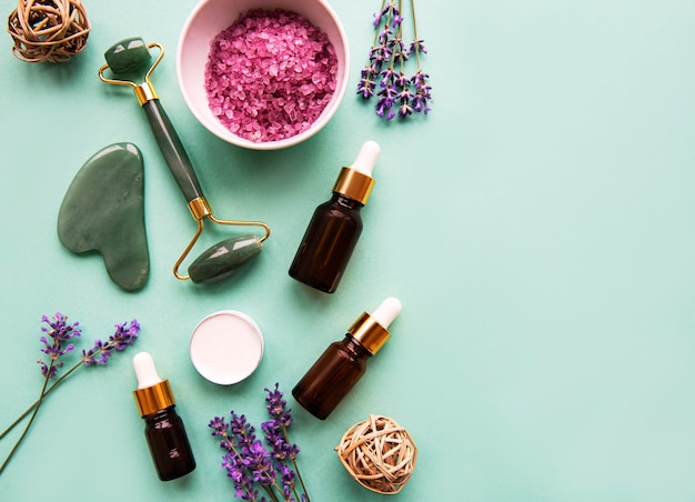 Natural organic spa cosmetic with lavender.