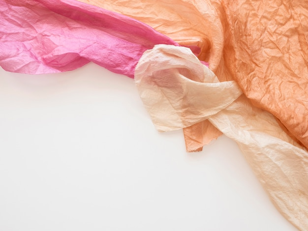 Natural pigmented bunch of cloths composition with copy space