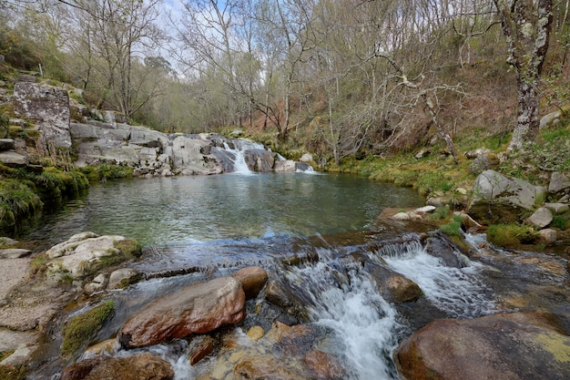 スペイン、ガリシアのコミュニティのセルベス川によって岩に形成された自然のプール。