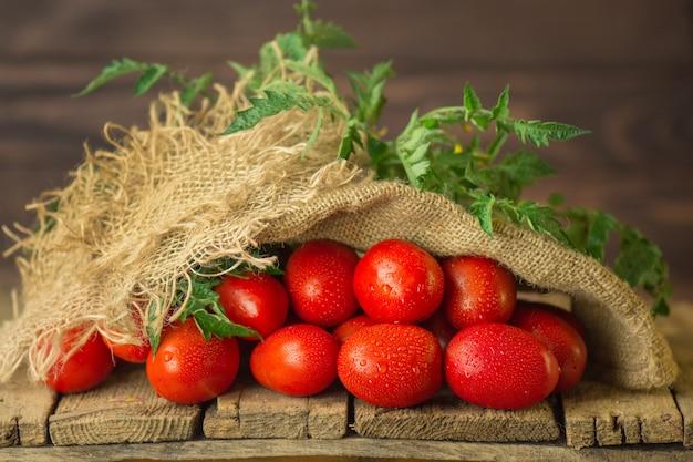 Концепция натурального продукта. свежие длинные сливовые помидоры в мешковине.