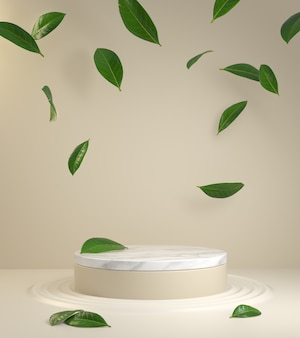 Natural product podium with beige background and falling green leaves 3d render