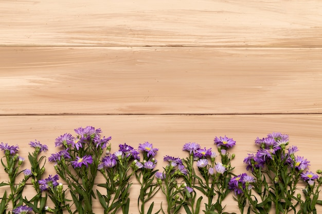 Natural purple flowers on wooden background
