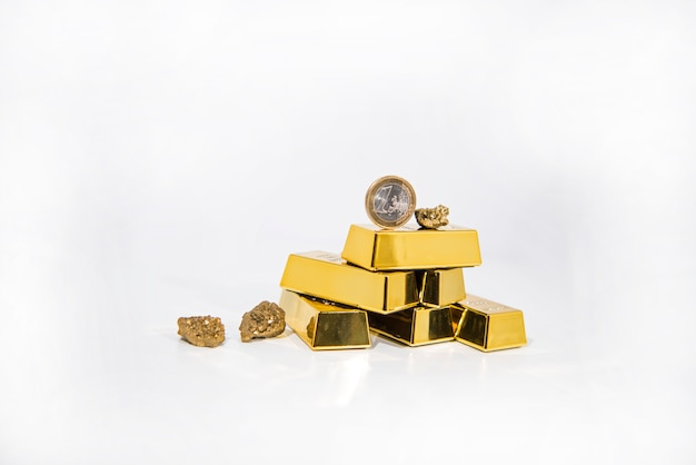 Natural quartz gold titanium agate crystal with gold bars.
