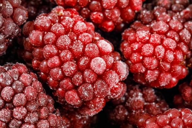 Натуральные красные спелые ягоды шелковицы. крупный план.