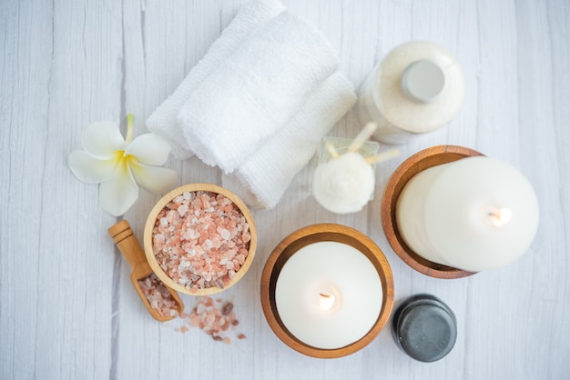 Natural relaxing spa composition on massage table in wellness center