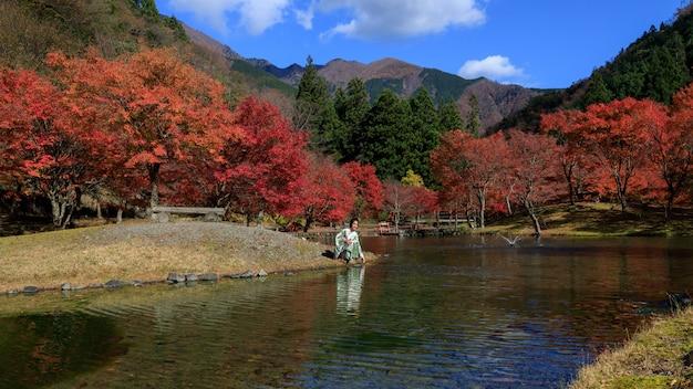 秋の自然河川公園と着物を着た小さな女性が日本を離れる