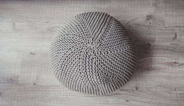 Natural round pouf cushion chair