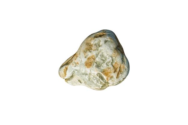 白い背景で隔離の天然海石。デザインのための小石。高品質の写真
