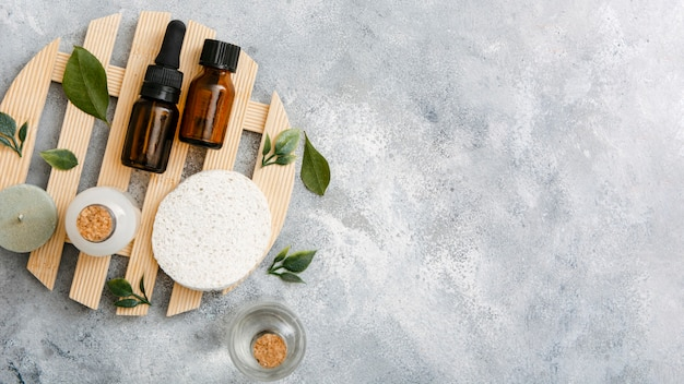 Natural serum product on wooden tray