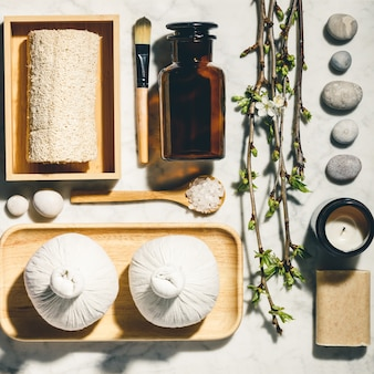 Natural skin care products flat lay. zero waste, eco friendly bathroom and spa accessories