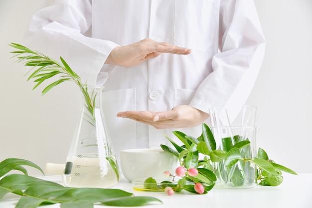 자연 스킨 케어 미용 제품 연구, 과학 실험실에서 녹색 유기농 허브 에센스 발견, 브랜딩을위한 피부과 의사 손 현재 제품.