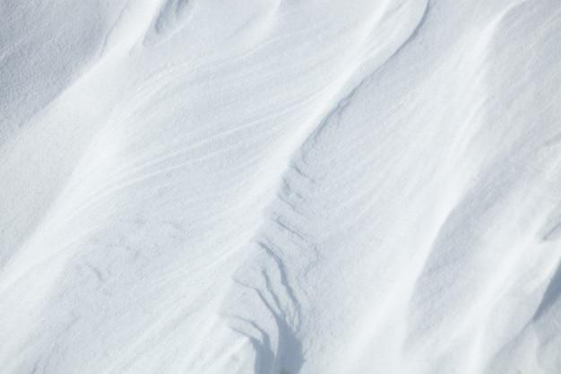 Естественный фон текстуры снега, вид сверху крупным планом