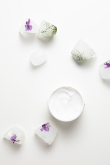 Natural soap and cream with white background