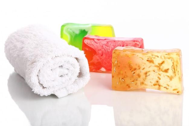 Natural soap and towel
